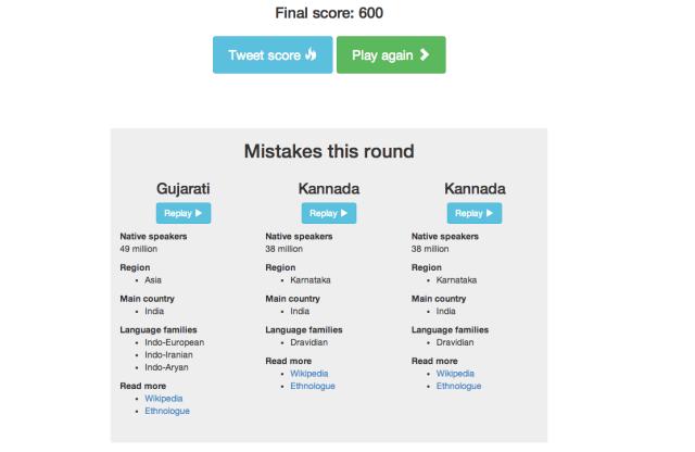 Great Language Game Final Score