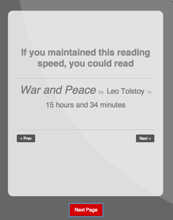 Speed Reading - War and Peace