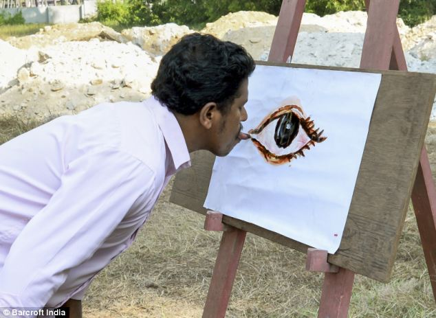 Indian Artist Has Made Over 1,000 Paintings Using His Tongue as a Brush
