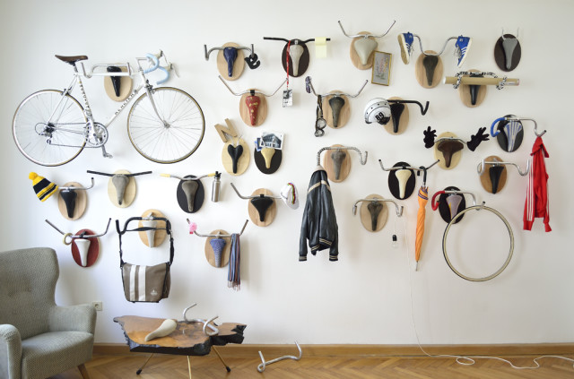 Salvaged Bike Part Hunting Trophy Sculptures