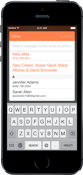 Confide App Example Screen