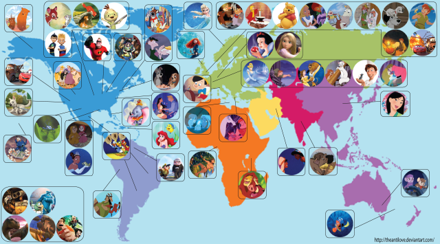 A Map Showing the Geographic Locations Disney and Pixar Films Around the World