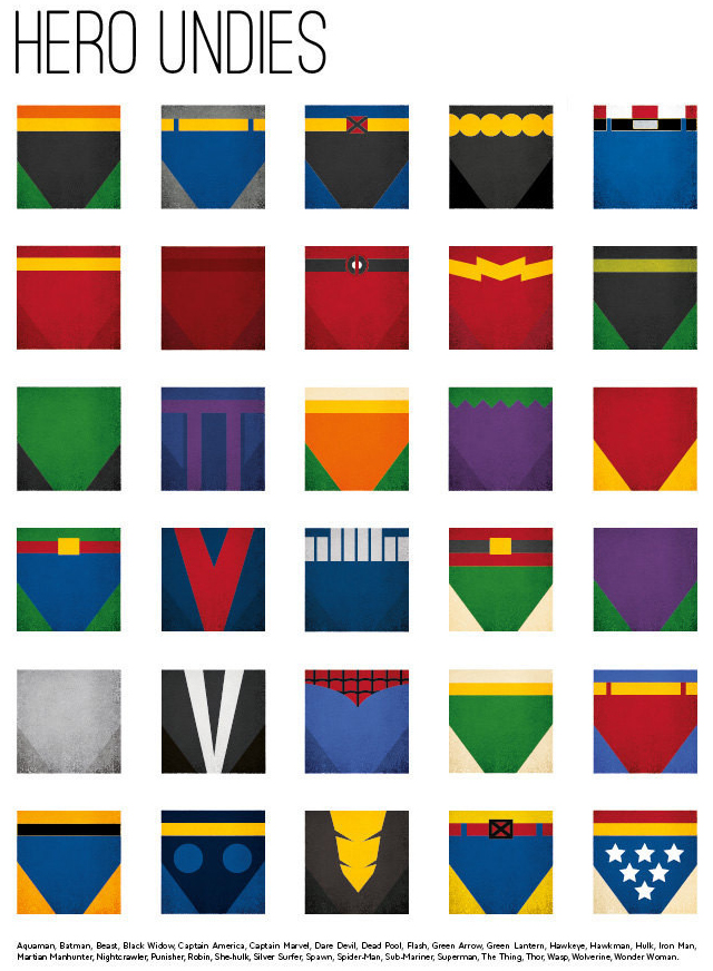 Superhero underwear minimalist art prints featuring the for Minimal art hero