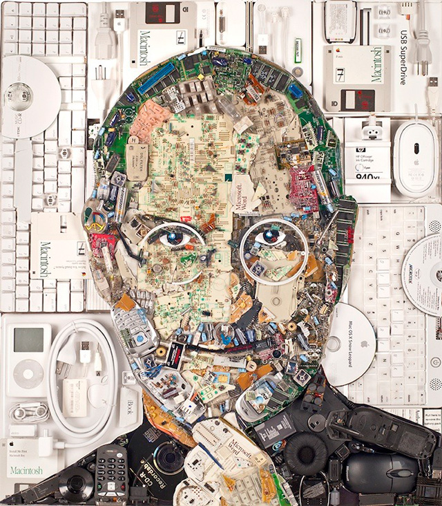 collage portrait of steve jobs made out of salvaged computer parts by jason mecier. Black Bedroom Furniture Sets. Home Design Ideas