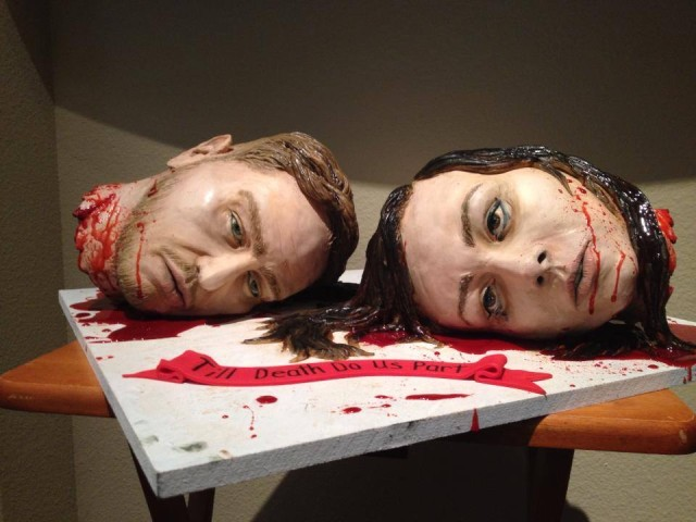 Cake Artist Makes Her Own Wedding Cake as a Pair of Bloody Severed Heads