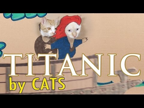 The 1997 Epic Romantic Disaster Film 'Titanic' Remade with Cute Cats and Cardboard Cutouts