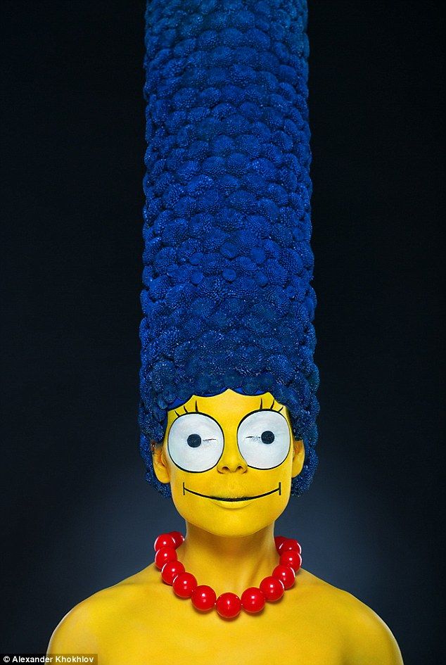 Model Transformed Into a Real Life Marge Simpson Complete With Towering Blue Bouffant