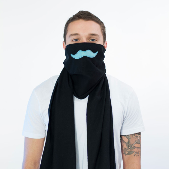 Scough - Black Flannel Teal Moustache