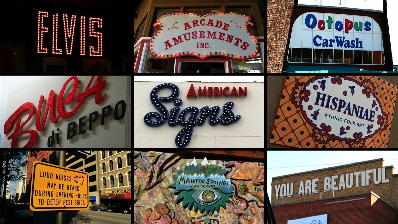 A Montage of Signs Filmed During a Cross Country Roadtrip