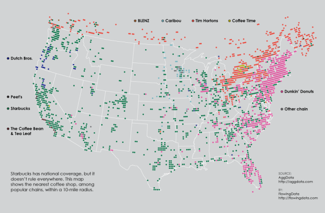 A Fascinating Map of Popular Coffee Shop Chain Locations in the United States