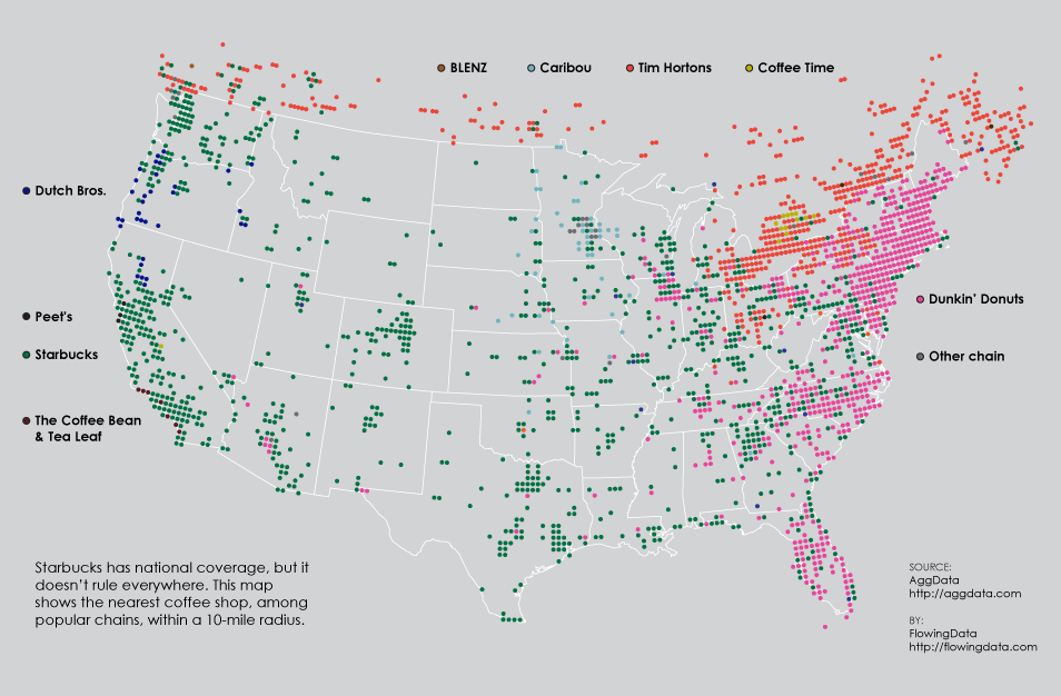 A fascinating map of popular coffee shop chain locations for Where is the closest craft store to my location