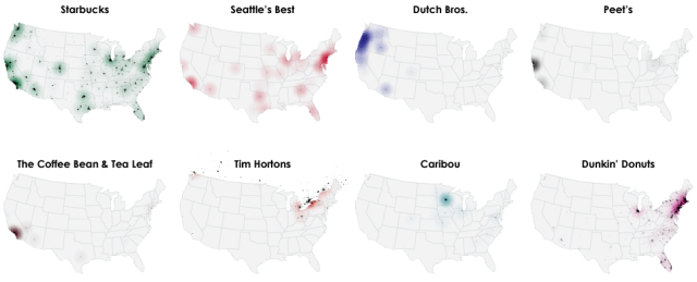 A Fascinating Map of Popular Coffee Shop Chain Locations in the