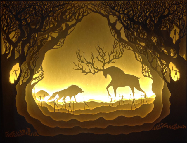 Dramatically Back-Lit Paper Dioramas by Hari & Deepti