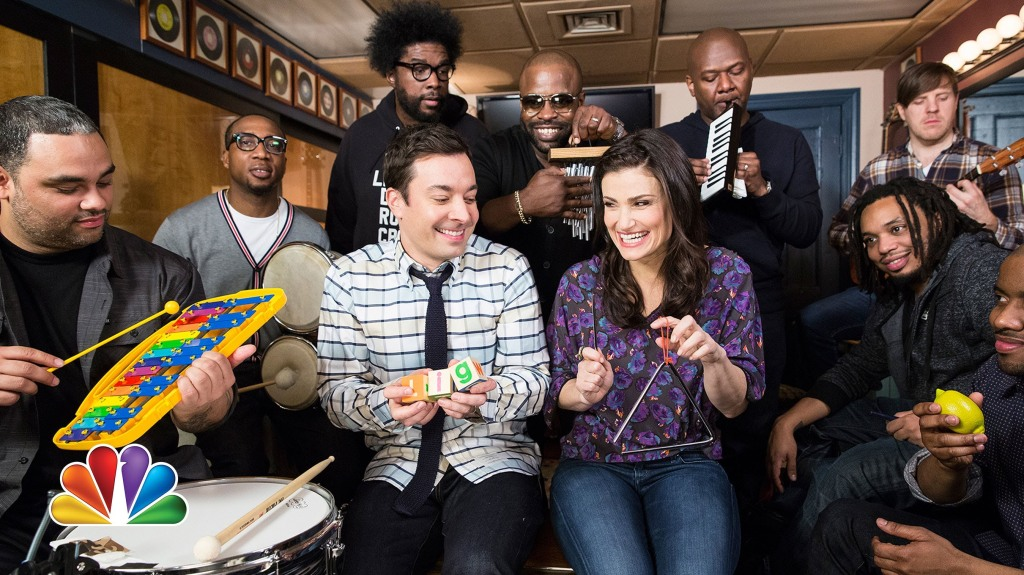 Jimmy Fallon, Idina Menzel, and The Roots Play 'Let It Go' From 'Frozen' with Classroom Instruments