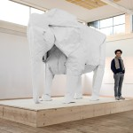 White Elephant, A Life-Size Origami Elephant Folded From a Single Giant Piece of Paper