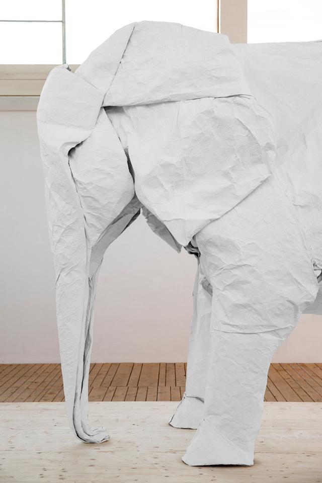 White Elephant A Life Size Origami Elephant Folded From A Single