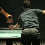 Professional Table Tennis Champion Timo Boll Plays Match Against a Chinese Industrial Robot