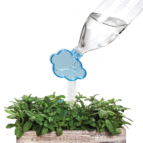 Rainmaker, A Cloud-Shaped Plant-Watering Attachment for Used Soda Bottles