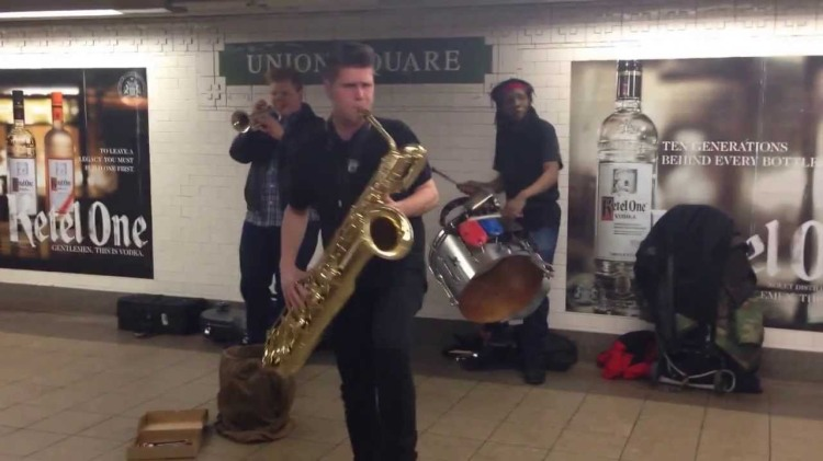 Too Many Zooz, A Powerful Horn-Based Trio Performing in a New York City Subway Station