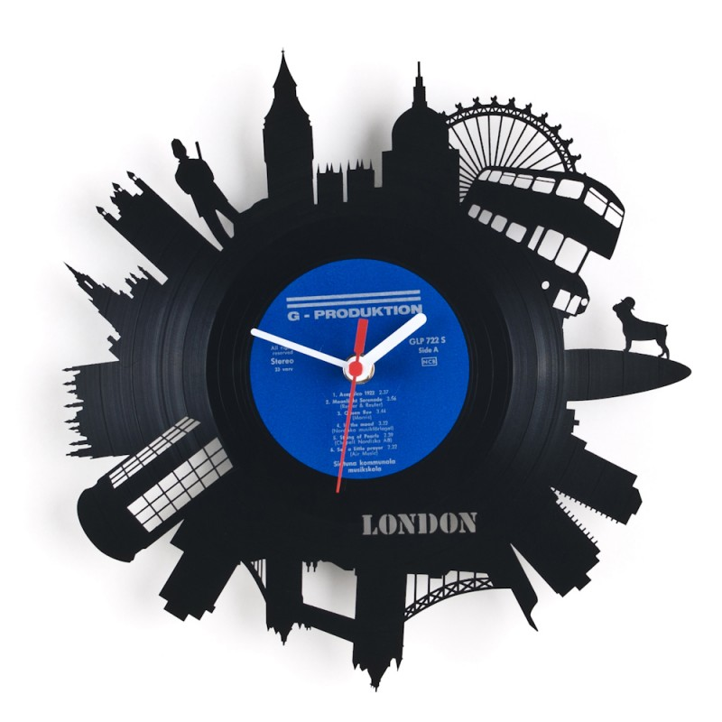 Decorative Wall Clocks Featuring Designs Cut Into Old Vinyl Records