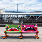 Crocheted Monster Benches at the Ferry Building  in San Francisco