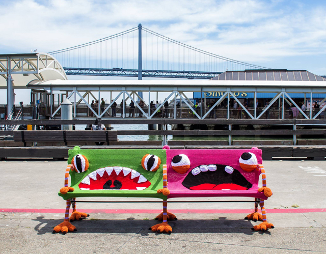 Monster Bench Yarn Bombing