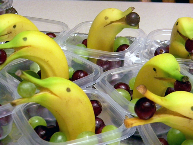 Cute Banana Dolphins Eating Grapes