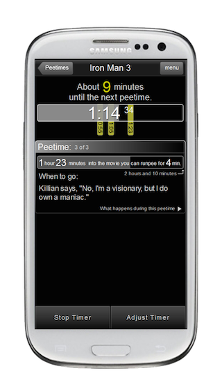 Android RunPee Timer
