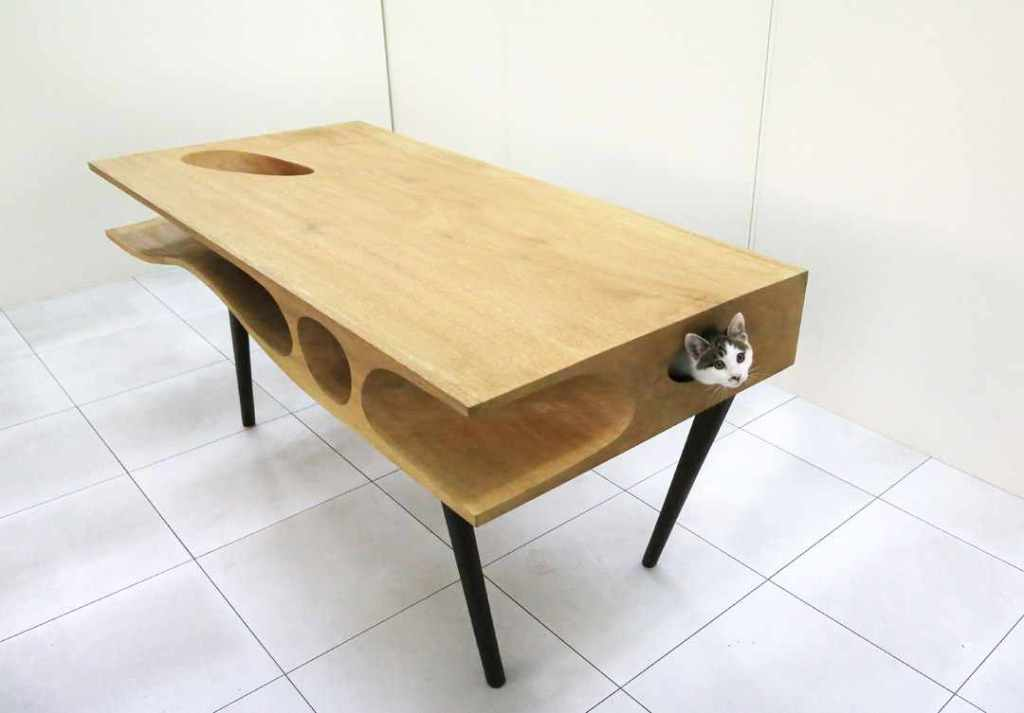 CATable, A Sleek Modern Desk Hiding A Bevy of Hidey-Holes To Please Hardworking Humans and Curious Cats Alike