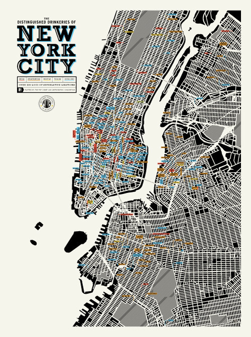 'The Distinguished Drinkeries of New York City', A Color Coded Art Print By Pop Chart Lab