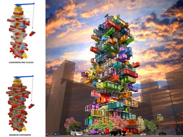 Hive inn a high rise shipping container hotel concept for Hive container homes
