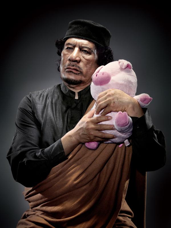 Muammar Qaddafi With Pig