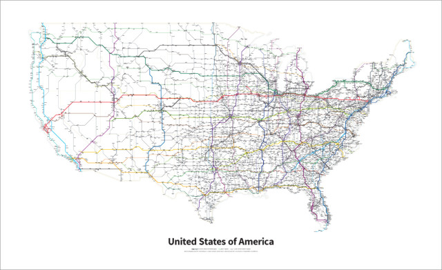 a simplified map of every interstate and us highway in the united states