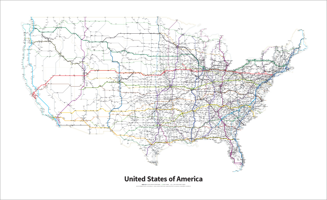 A Simplified Map Of Every Interstate And US Highway In The - Map of us with highways