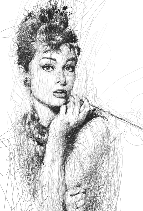 Scribble Drawing Ideas : Scribble style portraits by vince low