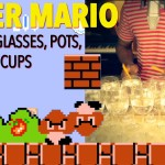 A Man Plays the 'Super Mario Bros.' Video Game Theme Song on 48 Wine Glasses and a Frying Pan