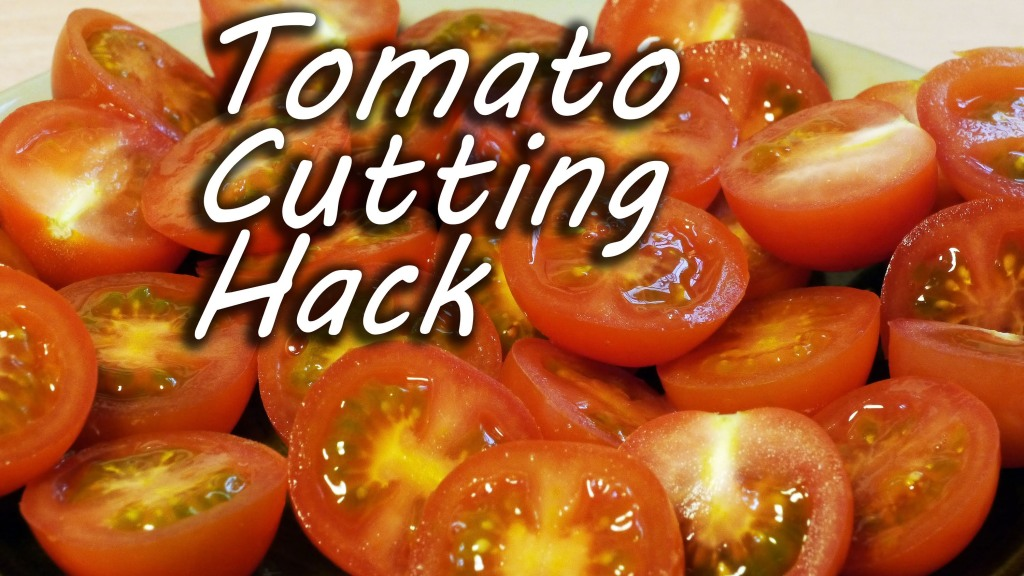 An Incredibly Simple Technique For Cutting Cherry Tomatoes in Half