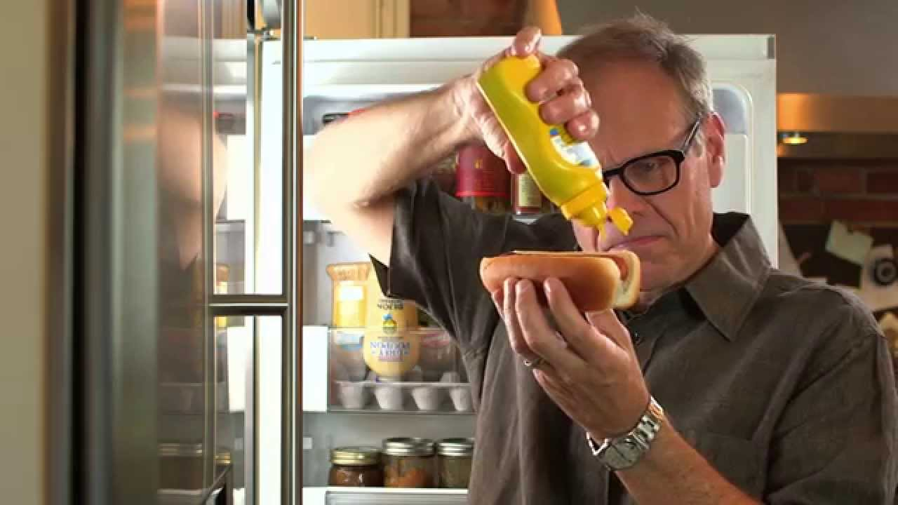 Alton Brown Dramatically Shows How To Make an Inexpensive Mustard Caddy Hack For Your Refrigerator