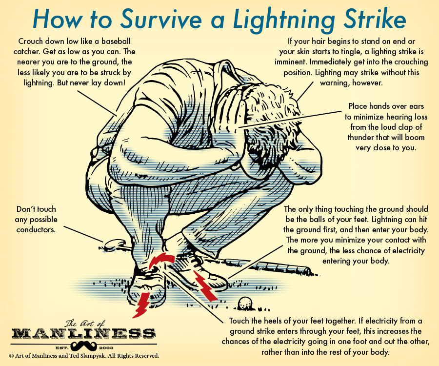 an illustrated guide on how to survive a lightning strike by the art