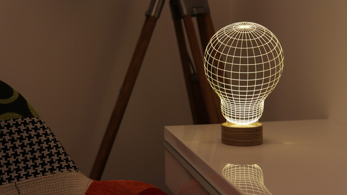 BULBING, A 2D LED Lamp Featuring 3D Wire-Frame Images