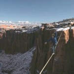 Drone Footage of Thrillseekers Slacklining 400 Feet Above the Moab Desert