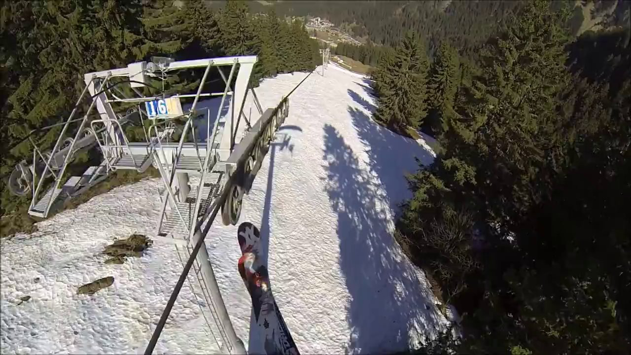 Cable Chair Lift : First person video of a speed rider grinding down chair