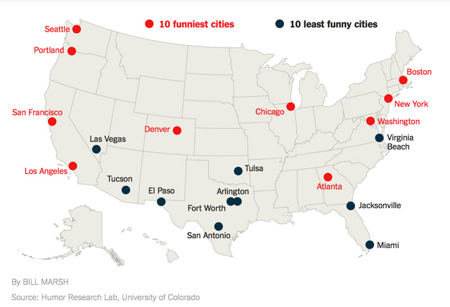 The Funniest Cities In The United States As Ranked By The Humor - Map united states cities