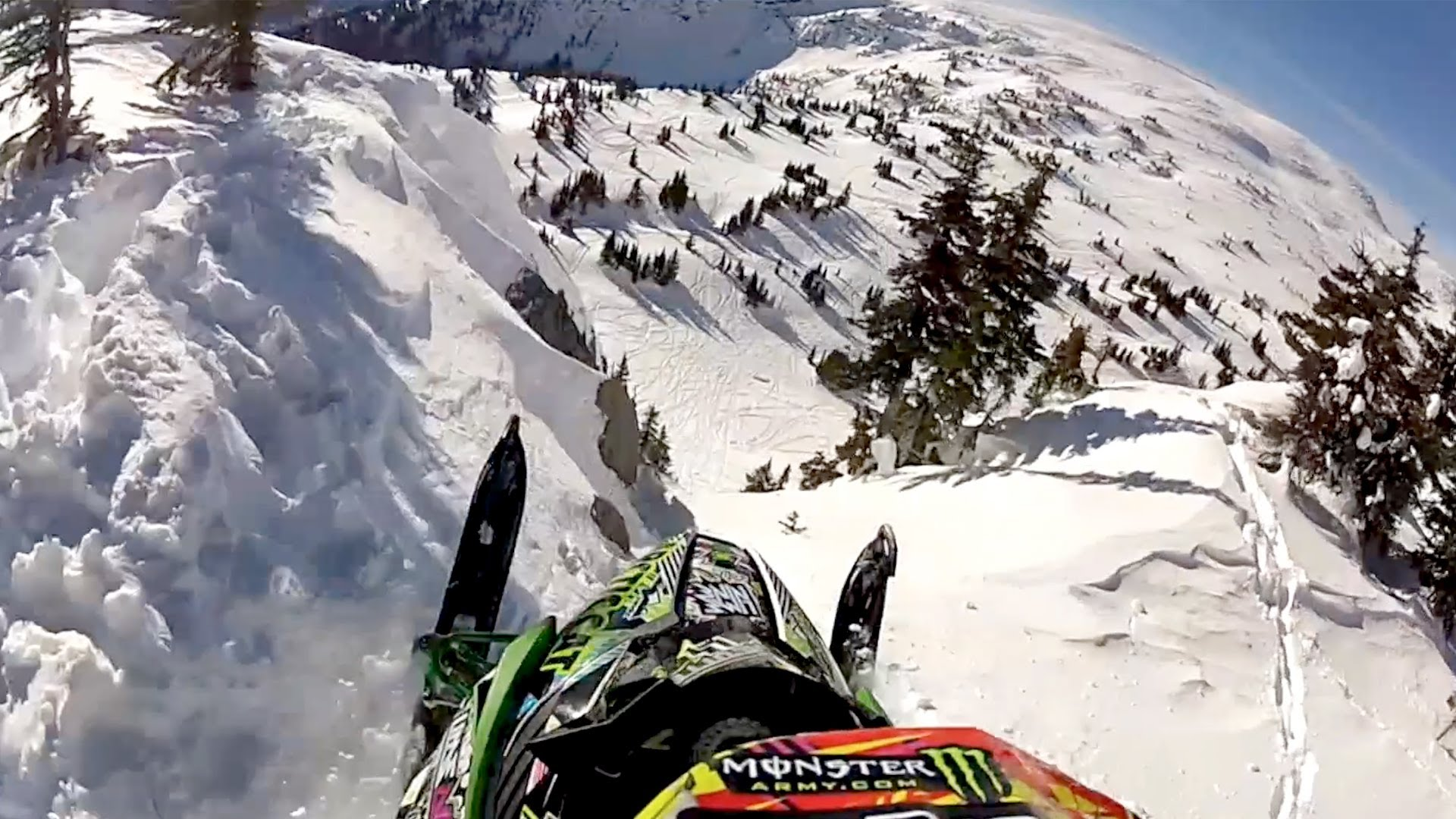 Gopro Video Of A Snowmobile Getting Some Serious Air While