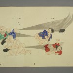 He-Gassen, A Japanese Art Scroll Featuring a Number of People Farting at Each Other