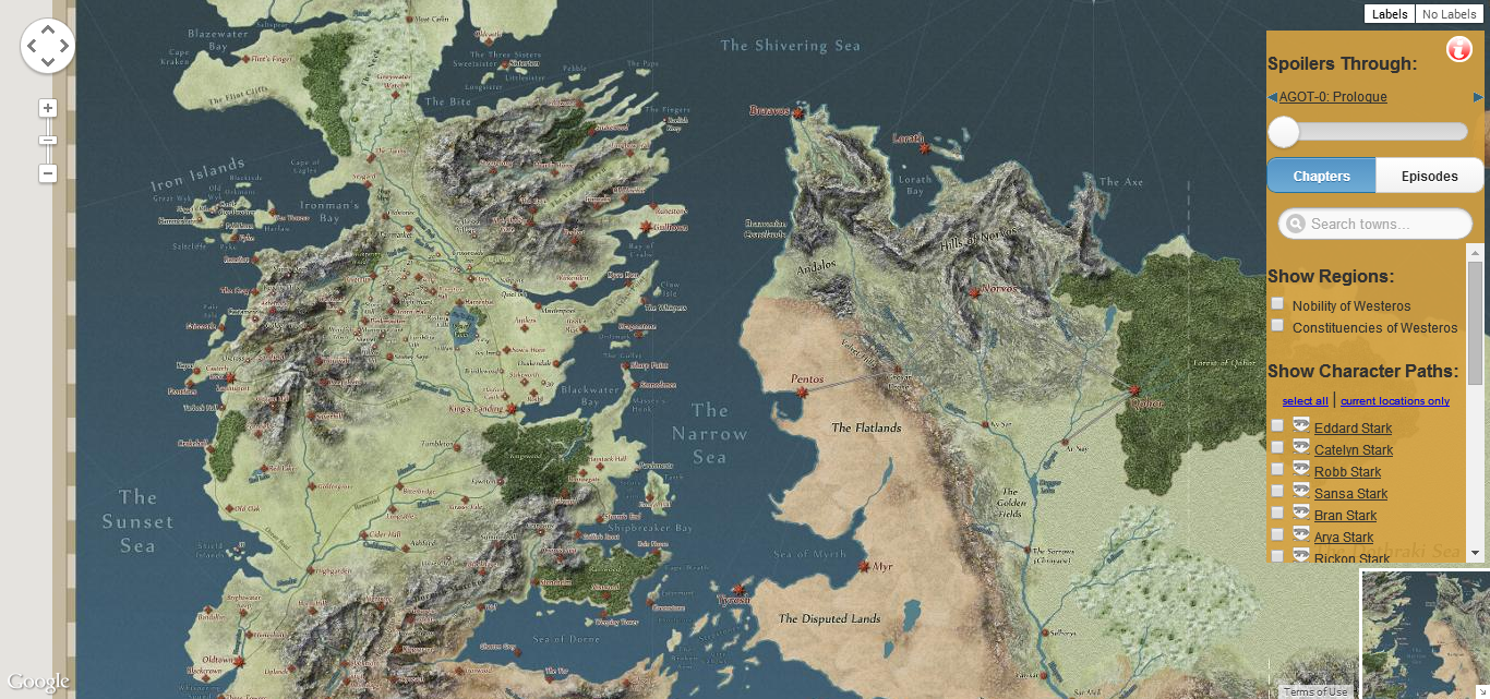 An Interactive Map Of The Lands From The Game Of Thrones