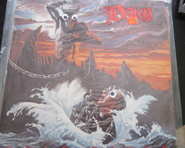 metal albums with googly eyes