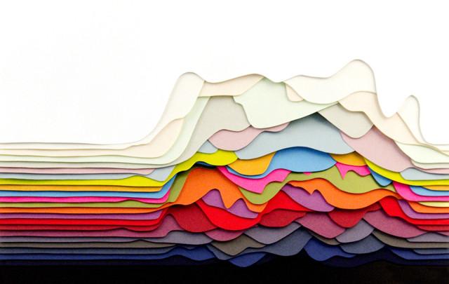 Colorful Geometric Cut Paper Art by Maud Vantours