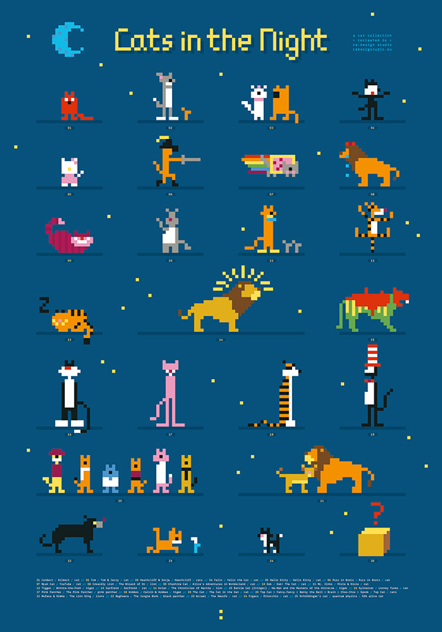 Cats in the Night, An Art Print Featuring 8-Bit Versions of Famous Cartoon Felines