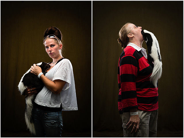 Photographs of Skunk Owners Holding Their Skunks